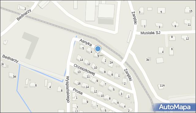 Limanowa, Asnyka Adama, 3, mapa Limanowa