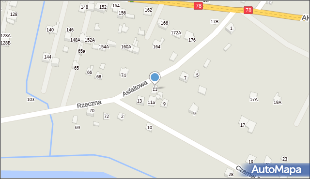 Poręba, Asfaltowa, 11, mapa Poręba