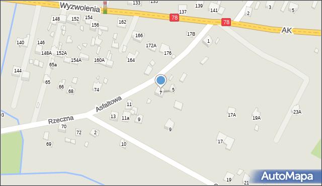Poręba, Asfaltowa, 7, mapa Poręba
