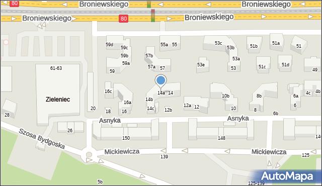 Toruń, Asnyka Adama, 14a, mapa Torunia