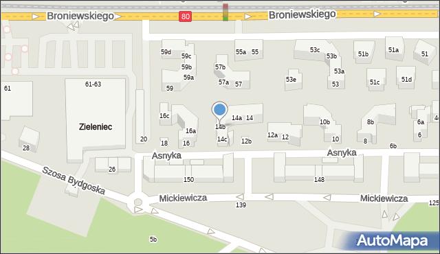 Toruń, Asnyka Adama, 14b, mapa Torunia