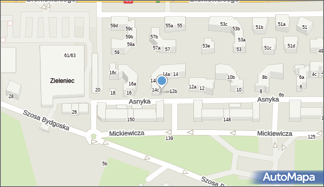 Toruń, Asnyka Adama, 14d, mapa Torunia
