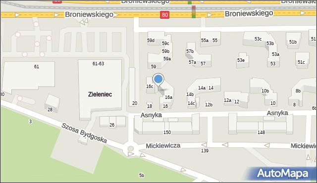 Toruń, Asnyka Adama, 16b, mapa Torunia