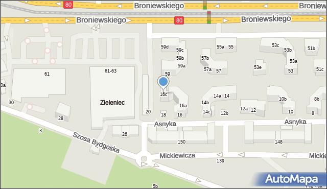 Toruń, Asnyka Adama, 16c, mapa Torunia