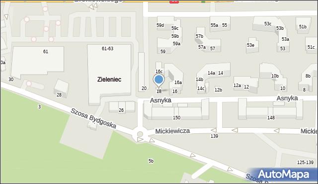 Toruń, Asnyka Adama, 18, mapa Torunia