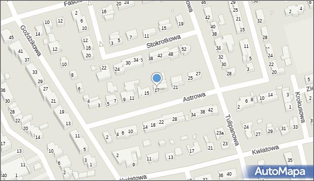 Toruń, Astrowa, 17, mapa Torunia