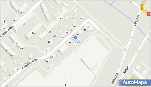 Białystok, Augustowska, 12, mapa Białegostoku
