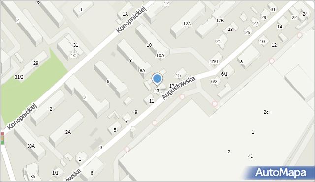Białystok, Augustowska, 13, mapa Białegostoku