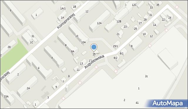 Białystok, Augustowska, 15, mapa Białegostoku