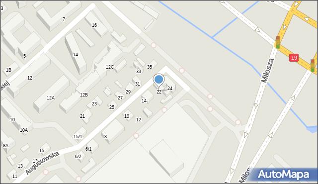 Białystok, Augustowska, 22, mapa Białegostoku