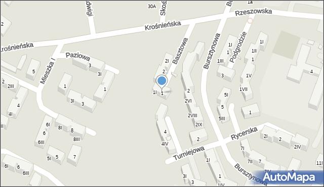 Będzin, Basztowa, 1, mapa Będzin