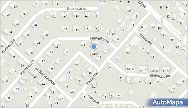 Białystok, Bacieczki, 14A, mapa Białegostoku