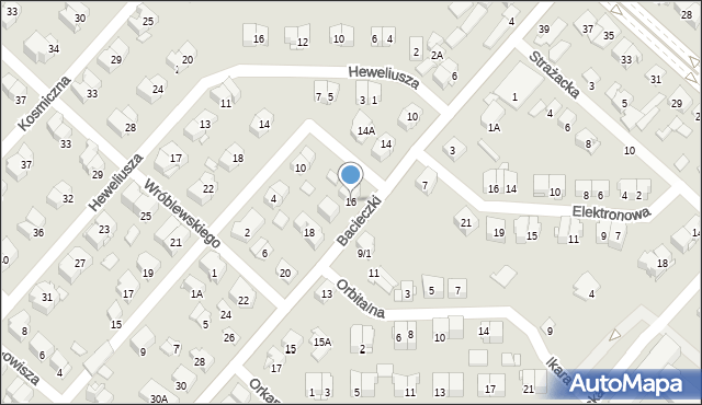 Białystok, Bacieczki, 16, mapa Białegostoku