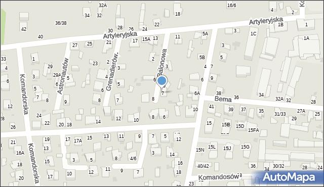Częstochowa, Balonowa, 7, mapa Częstochowy