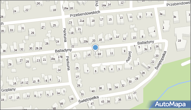 Gdynia, Balladyny, 13a, mapa Gdyni