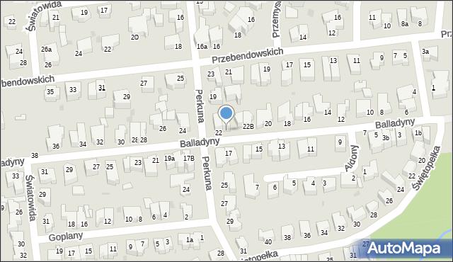 Gdynia, Balladyny, 22A, mapa Gdyni