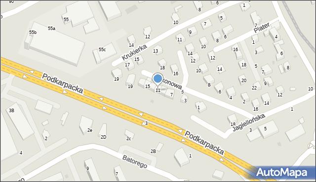 Krosno, Balkonowa, 11, mapa Krosna