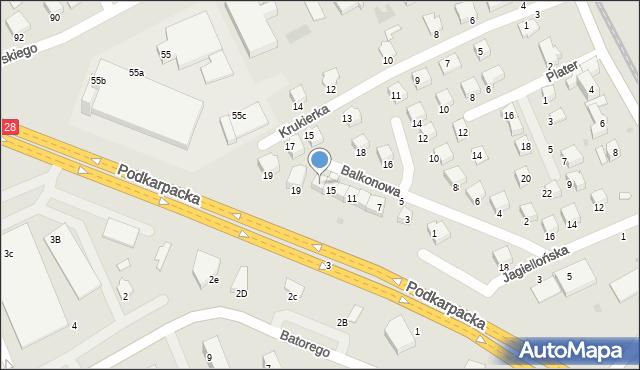 Krosno, Balkonowa, 17, mapa Krosna