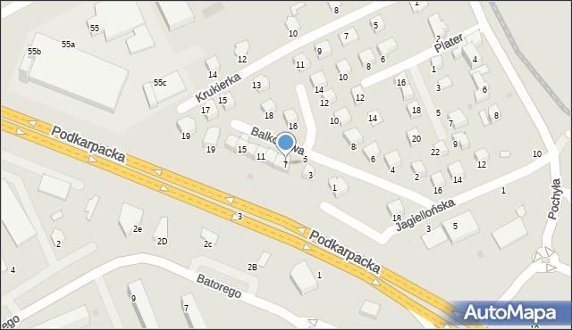 Krosno, Balkonowa, 7, mapa Krosna