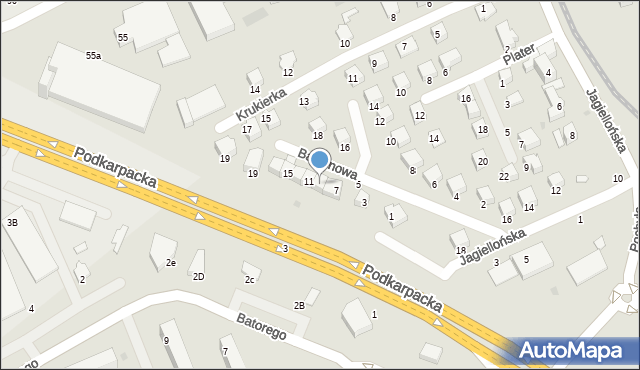 Krosno, Balkonowa, 9, mapa Krosna