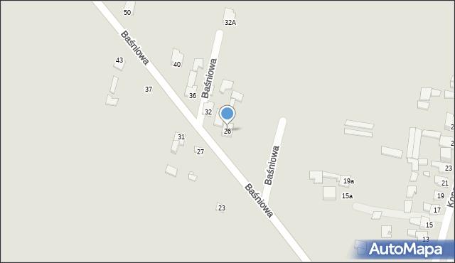 Poręba, Baśniowa, 26, mapa Poręba