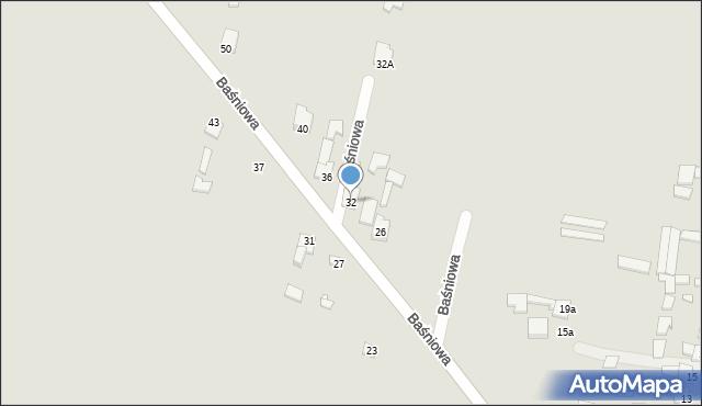 Poręba, Baśniowa, 32, mapa Poręba
