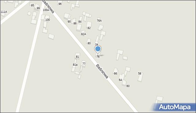 Poręba, Baśniowa, 76, mapa Poręba