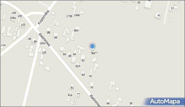 Poręba, Baśniowa, 76A, mapa Poręba