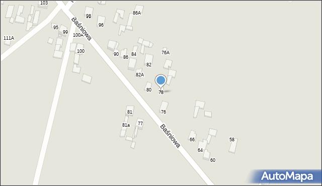 Poręba, Baśniowa, 78, mapa Poręba