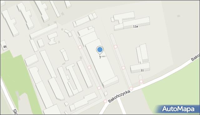 Przemyśl, Bakończycka, 7, mapa Przemyśla