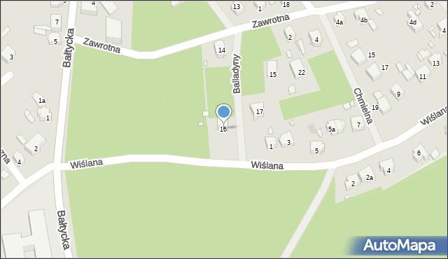 Szczecin, Balladyny, 16, mapa Szczecina