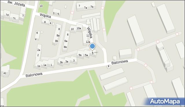 Toruń, Balonowa, 5, mapa Torunia