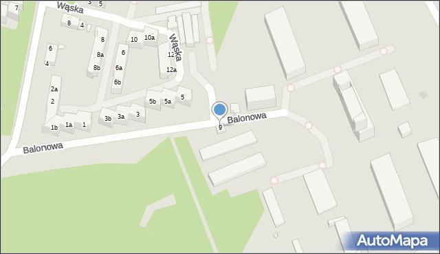 Toruń, Balonowa, 9, mapa Torunia