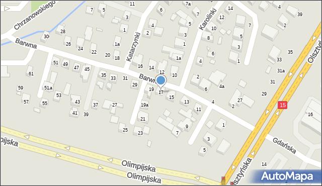 Toruń, Barwna, 17, mapa Torunia