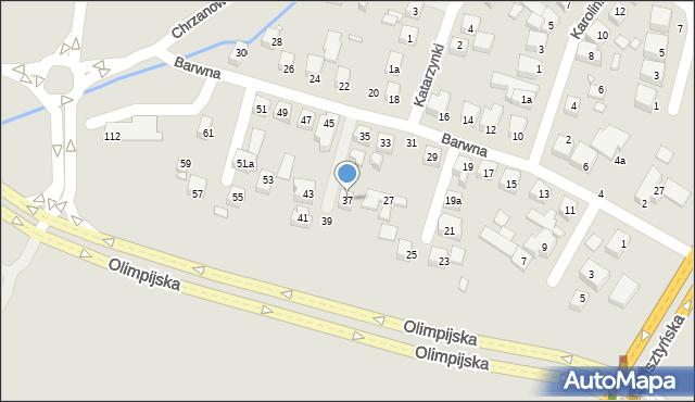 Toruń, Barwna, 37, mapa Torunia