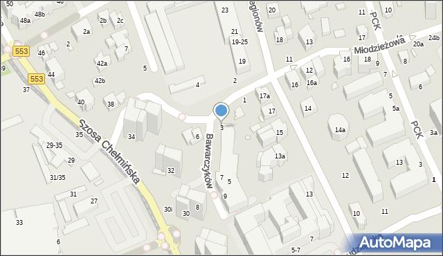Toruń, Bawarczyków, 3, mapa Torunia