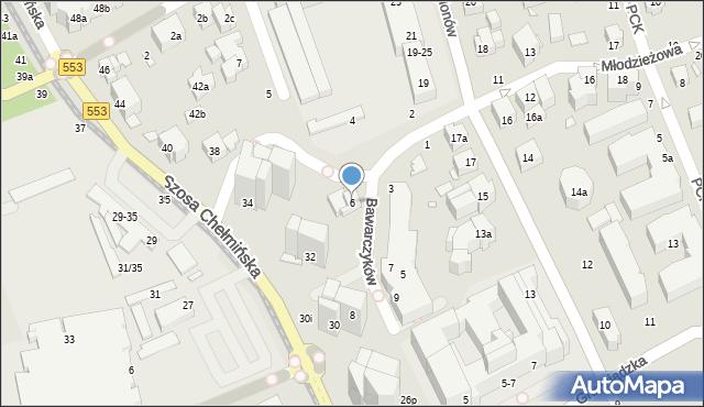 Toruń, Bawarczyków, 6, mapa Torunia
