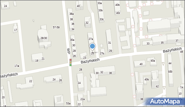 Toruń, Bażyńskich, 25a, mapa Torunia