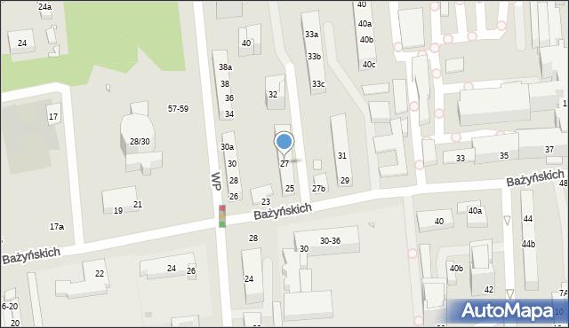 Toruń, Bażyńskich, 27, mapa Torunia