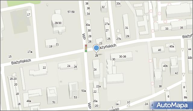 Toruń, Bażyńskich, 28, mapa Torunia