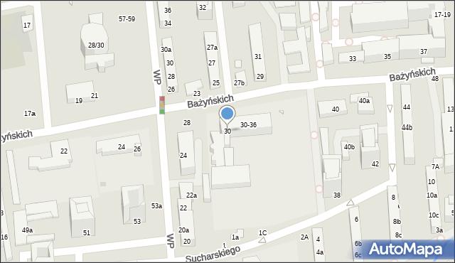 Toruń, Bażyńskich, 30, mapa Torunia