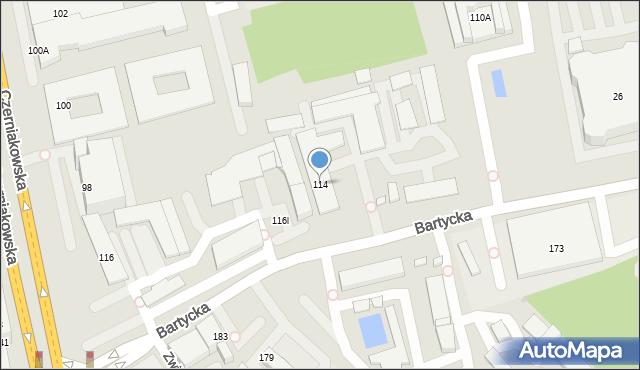 Warszawa, Bartycka, 114, mapa Warszawy