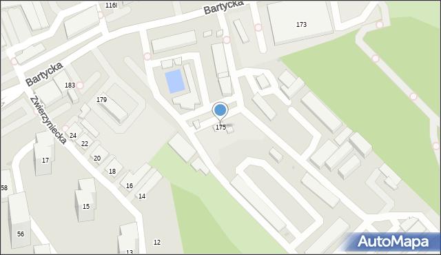 Warszawa, Bartycka, 175, mapa Warszawy
