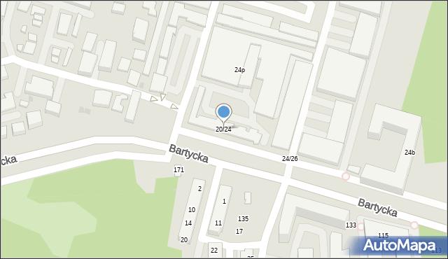 Warszawa, Bartycka, 20/24, mapa Warszawy