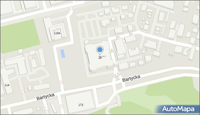 Warszawa, Bartycka, 26, mapa Warszawy