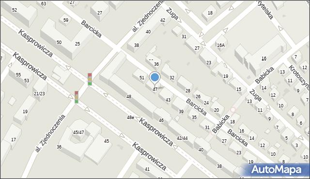 Warszawa, Barcicka, 47, mapa Warszawy