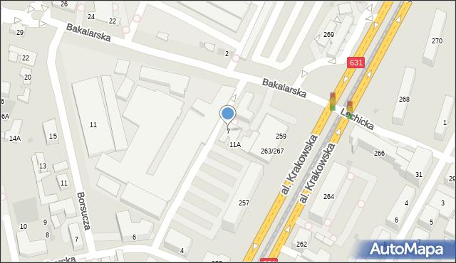 Warszawa, Bakalarska, 7, mapa Warszawy