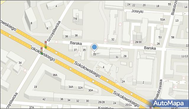 Warszawa, Barska, 33, mapa Warszawy