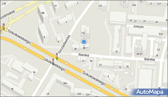Warszawa, Barska, 36, mapa Warszawy