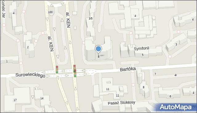 Warszawa, Bartóka Béli, 8, mapa Warszawy